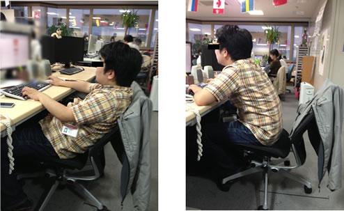 姿勢が悪いイスの座り方